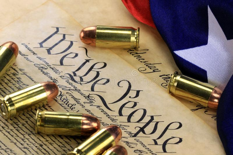 download ammunition and flag on us constitution history of the second amendment stock photo