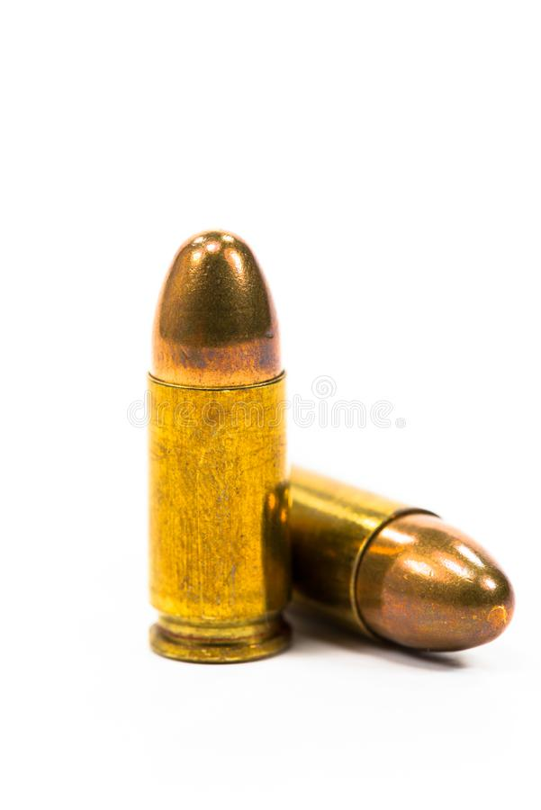 the ammunition was placed on a white background. royalty free stock photography