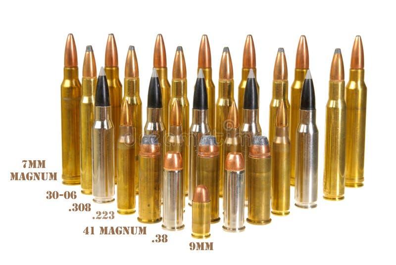 Ammunitionar av olika typer royaltyfri bild