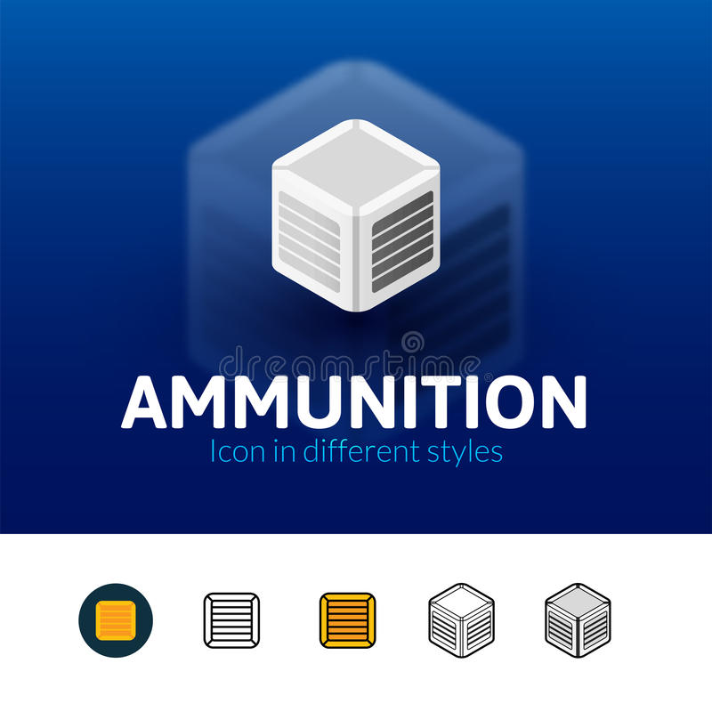 Ammunitionsymbol i olik stil stock illustrationer