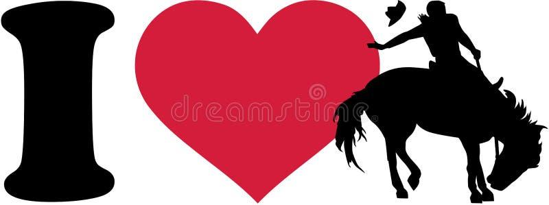 Amo al vaquero del rodeo ilustración del vector