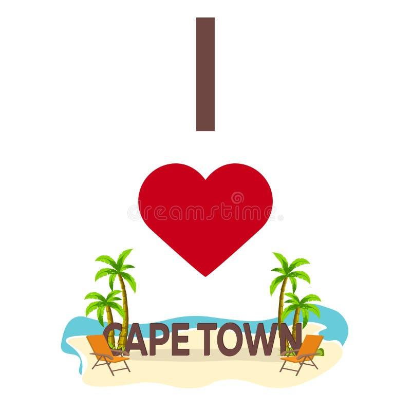 Amo Cape Town Corsa Palma, estate, sedia di salotto Illustrazione piana di vettore royalty illustrazione gratis