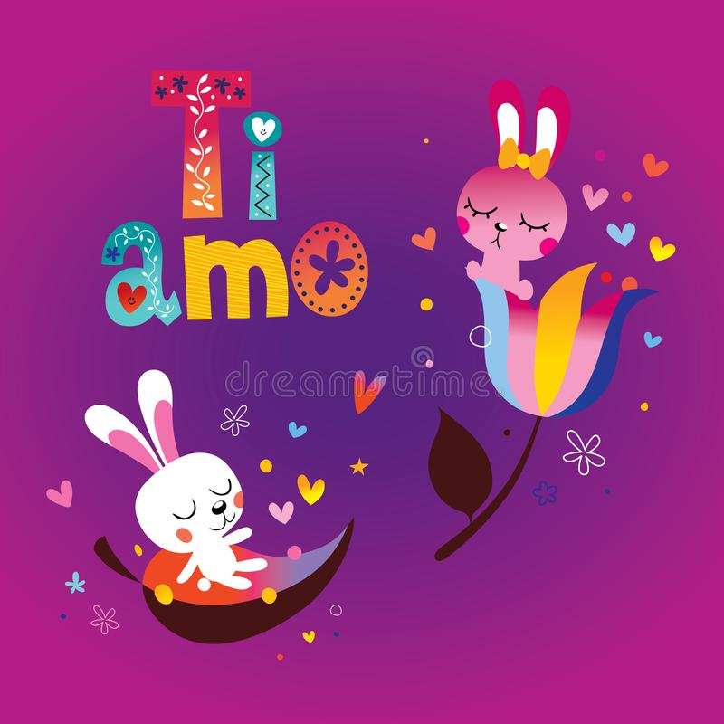 AMO de Ti je t'aime en italien illustration stock
