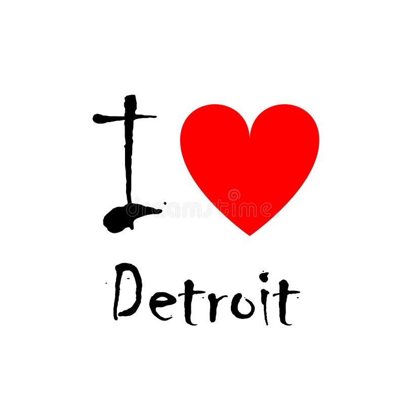 Amo Detroit, logo royalty illustrazione gratis