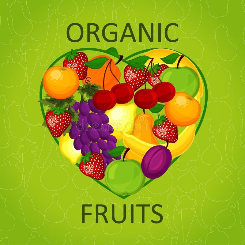Amo el alimento biológico un ejemplo libre illustration