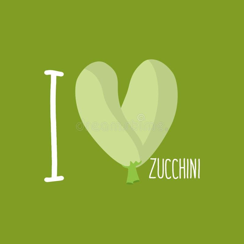Amo el calabacín Corazón de calabacines verdes Ilustración del vector stock de ilustración