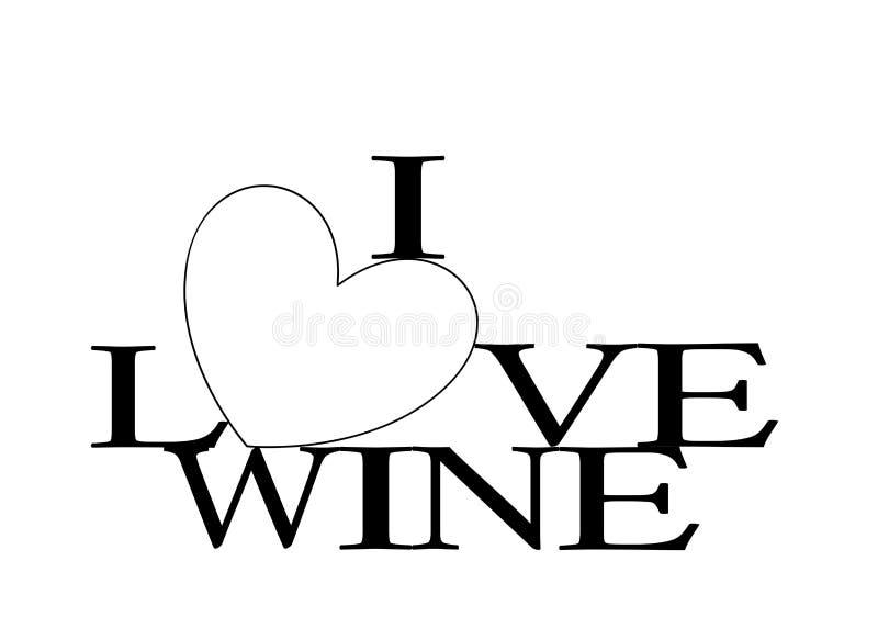 Amo el corazón del vino stock de ilustración