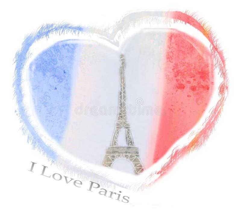 Amo el diseño de París ilustración del vector