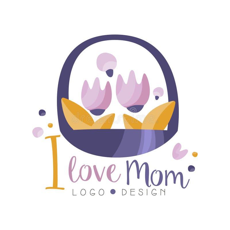 Amo el diseño del logotipo de la mamá, cesta creativa feliz de la etiqueta del día de madres de flores para la bandera, cartel, t libre illustration