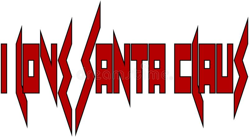 Amo el ejemplo de la muestra de Santa Claus Text ilustración del vector