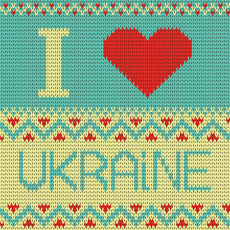 Amo el ejemplo de Ucrania. modelo que hace punto stock de ilustración