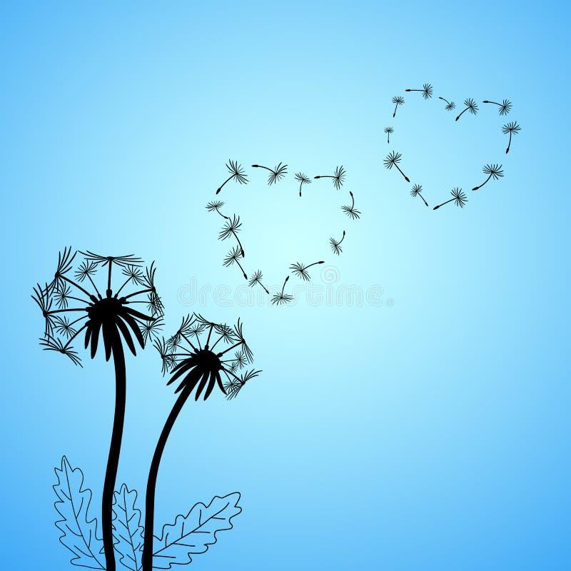 Amo el ejemplo del concepto del otoño con las flores y las semillas del diente de león imagen de archivo