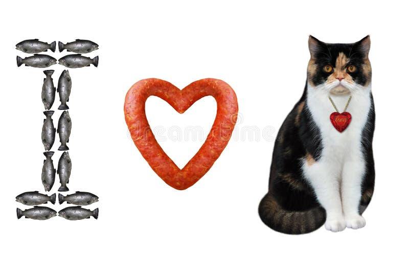 Amo el gato con un rubí fotos de archivo