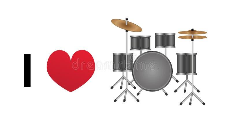 Amo el icono del vector de los tambores ilustración del vector