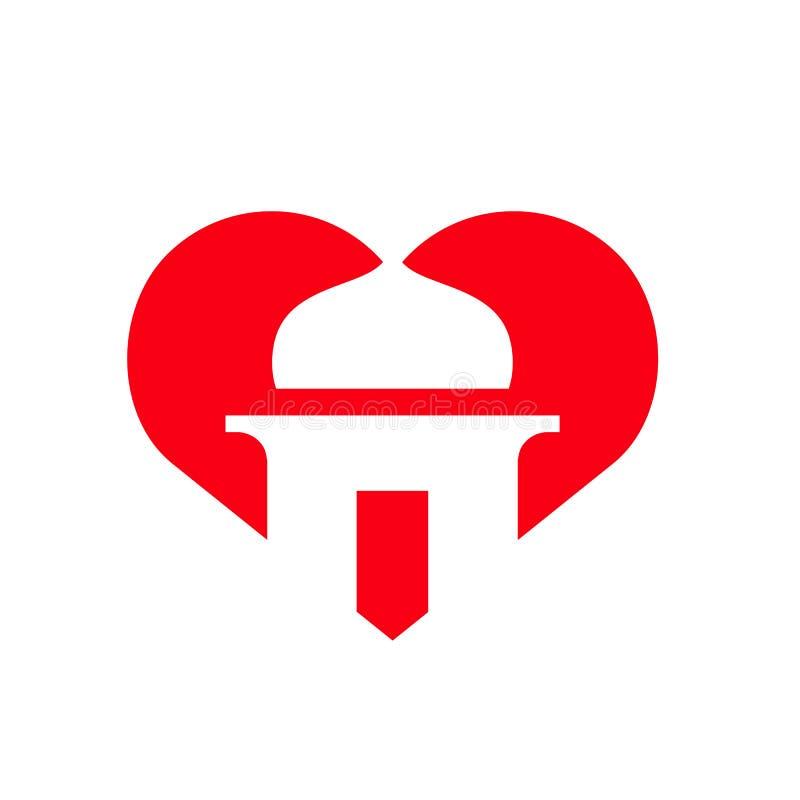 Amo el Islam, símbolo de la mezquita combinado con la forma del corazón, icono Logo Design del vector ilustración del vector