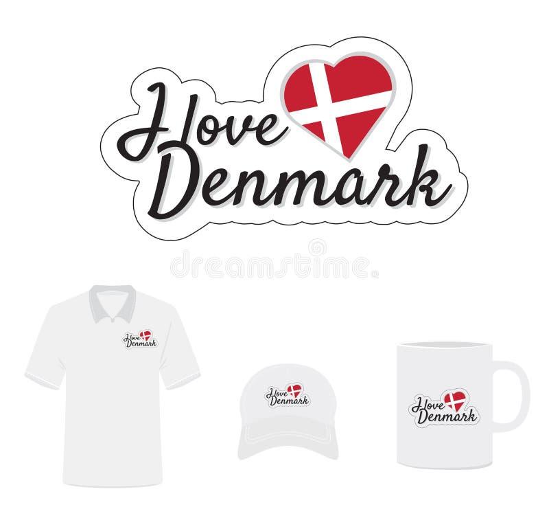 Amo el logotipo de Dinamarca, bandera del corazón, vector con cortado con tintas/el laser corté capas libre illustration