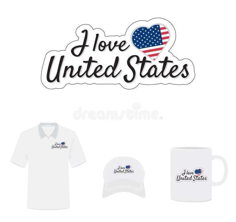 Amo el logotipo de Estados Unidos, corazón de la bandera ilustración del vector