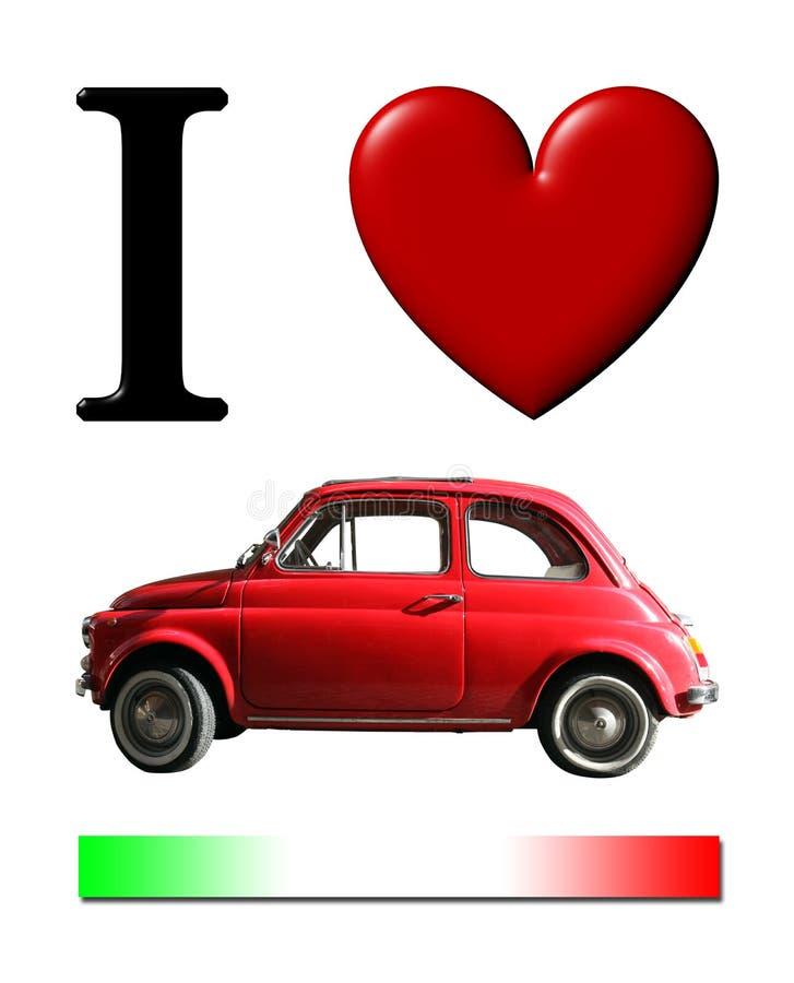 Amo el pequeño coche italiano viejo Corazón y bandera italiana roja ilustración del vector