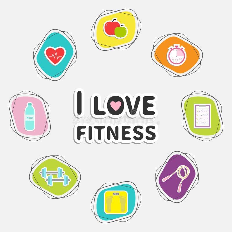 Amo el sistema del icono de la aptitud Marco redondo Contador de tiempo, whater, pesa de gimnasia, manzana, cuerda de salto, esca stock de ilustración