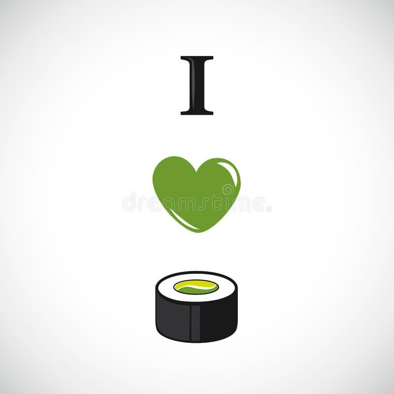 Amo el sushi con diseño del corazón del aguacate y del pepino ilustración del vector