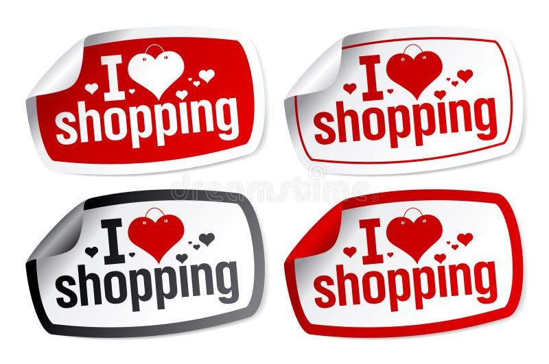 Amo etiquetas engomadas que hacen compras. libre illustration