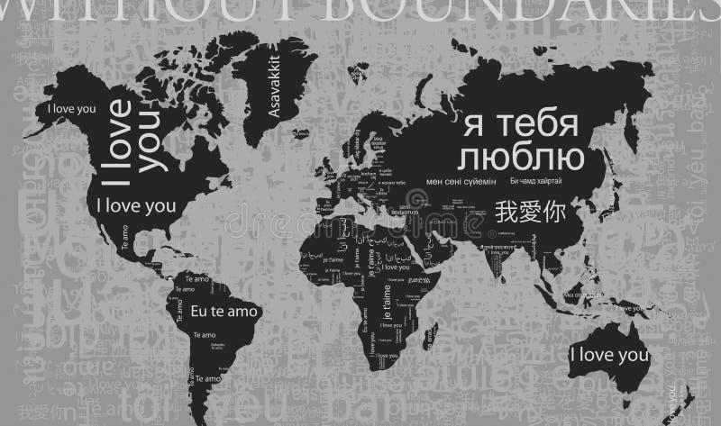 Amo i bounderies di You_without Ciò è una mappa dell'espressione ti amo illustrazione di stock