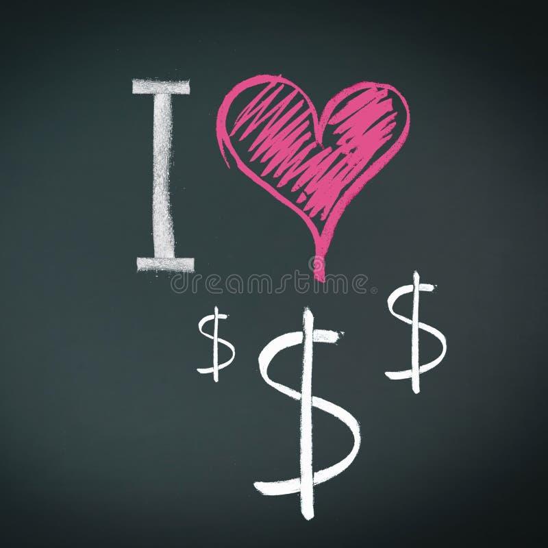 Amo i dollari illustrazione vettoriale
