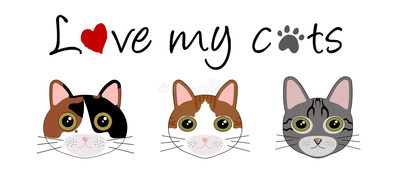 Amo i miei gatti illustrazione vettoriale