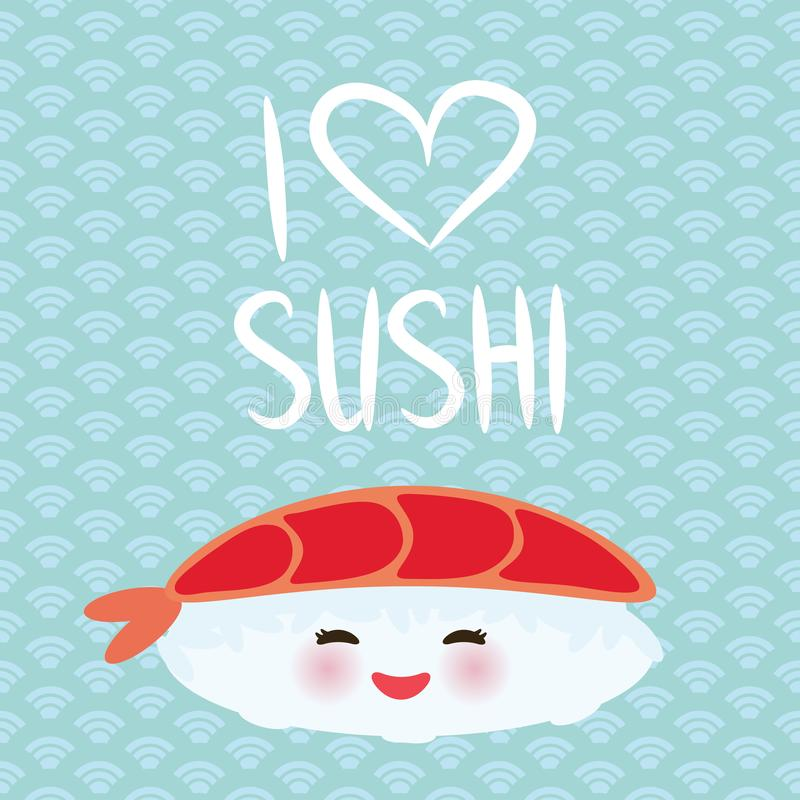 Amo i sushi Sushi divertenti di Kawaii Ebi con le guance rosa ed i grandi occhi, emoji Fondo del blu di bambino con il modello gi illustrazione di stock