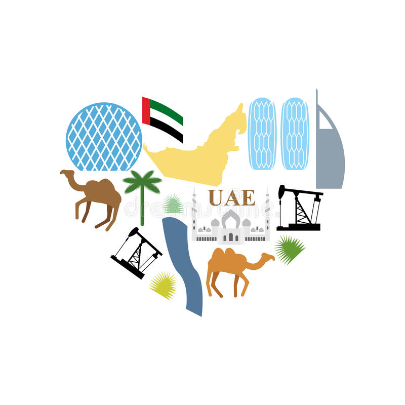 Amo i UAE Attrazioni del cuore di simbolo degli Emirati Arabi Uniti M. illustrazione di stock