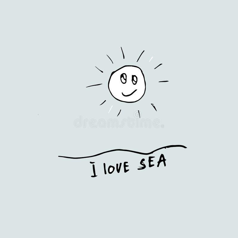 Amo idea del mar Gr?fico a pulso Vacaciones en la idea del mar Fondo para la publicidad tur?stica libre illustration