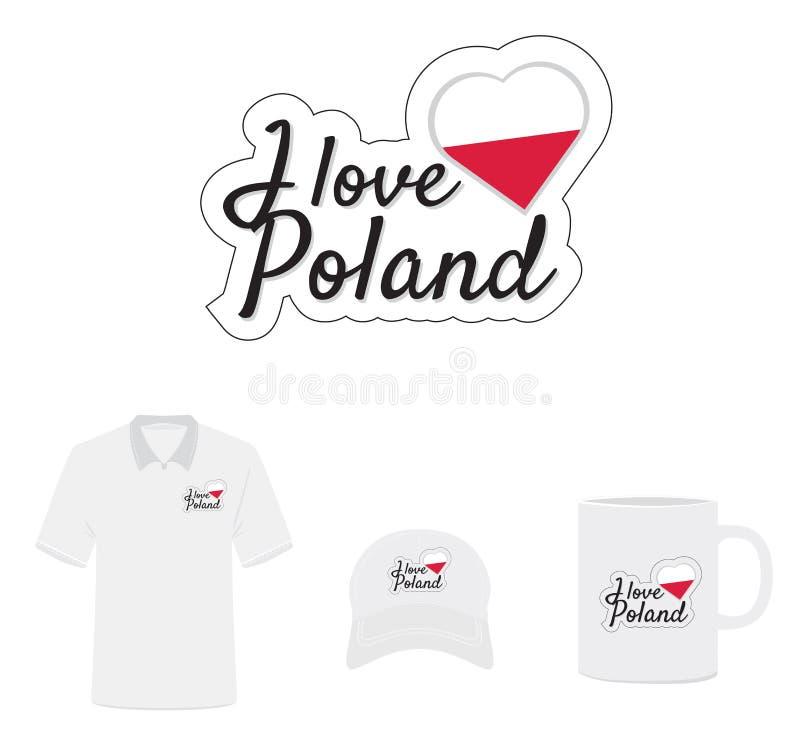 Amo il logo della Polonia, cuore della bandiera illustrazione di stock