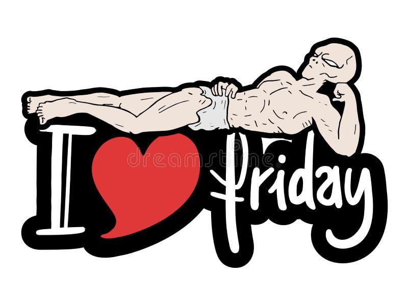 Amo il messaggio di venerdì royalty illustrazione gratis