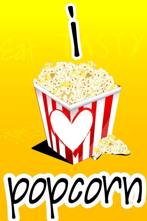 Amo il popcorn illustrazione di stock