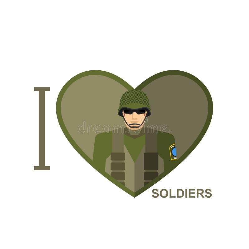 Amo il soldato Militare nella forma di un cuore Illust di vettore illustrazione di stock