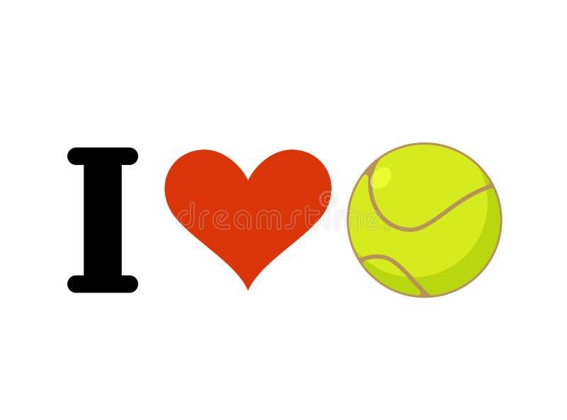 Amo il tennis Cuore e palla Simbolizzi per i fan di sport illustrazione vettoriale