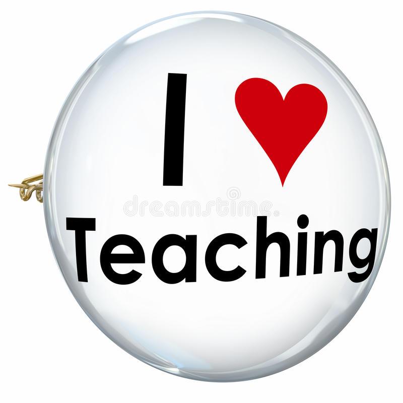 Amo insegnare al bottone Pin Proud Teacher School Education del cuore illustrazione vettoriale