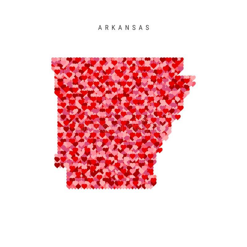 Amo l'Arkansas I cuori rossi modellano la mappa di vettore dell'Arkansas illustrazione vettoriale