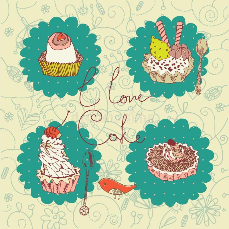 Amo l'illustrazione della torta illustrazione vettoriale