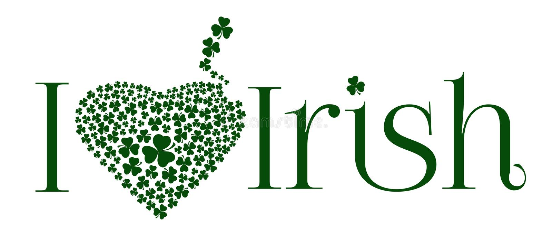 Amo la abreviatura irlandesa con el corazón del trébol ilustración del vector