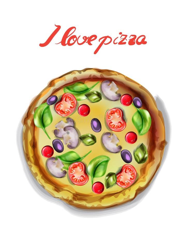 Amo la acuarela del vector de la pizza Cartel del icono de la plantilla Alimentos deliciosos libre illustration
