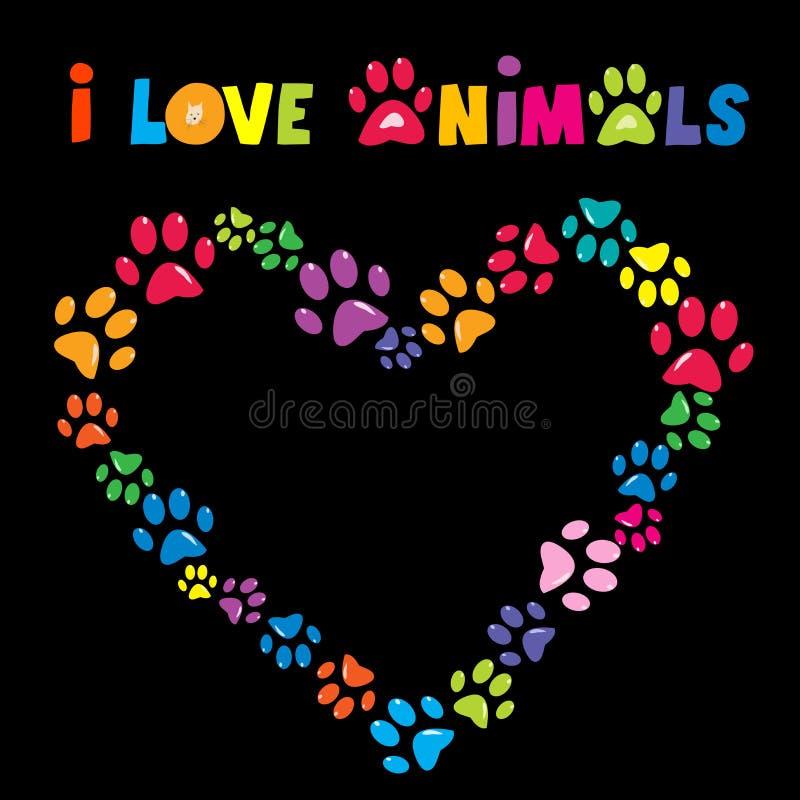 Amo la carta degli animali con la struttura variopinta del cuore delle stampe della zampa illustrazione vettoriale