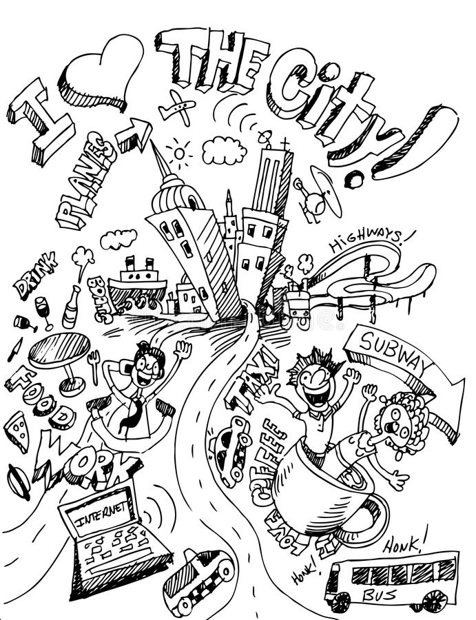 Amo la città illustrazione di stock
