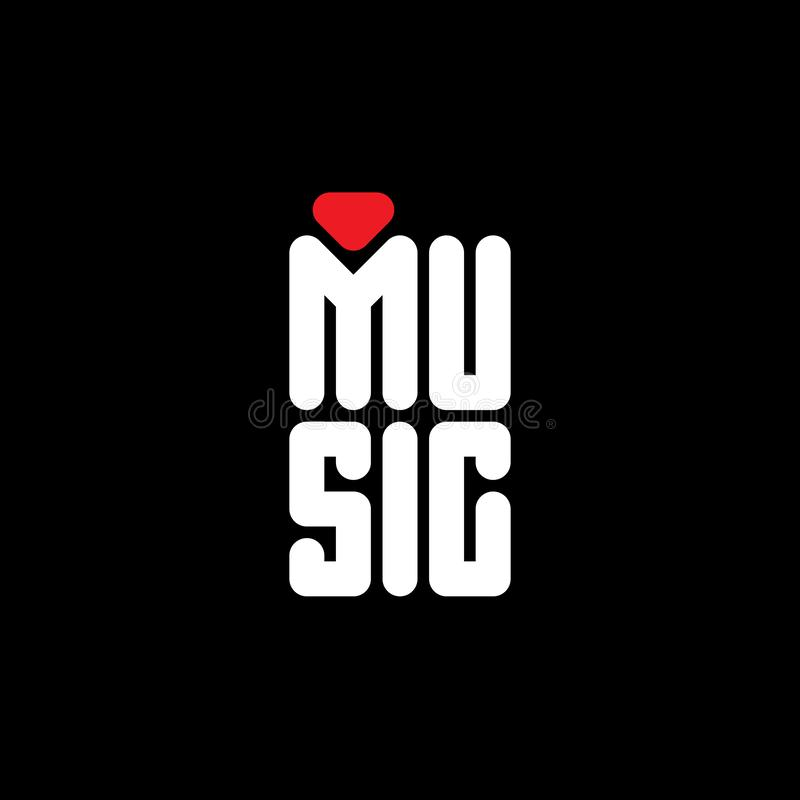 Amo la música - impresión original de la camiseta Cartel minimalista con el corazón rojo estilizado stock de ilustración