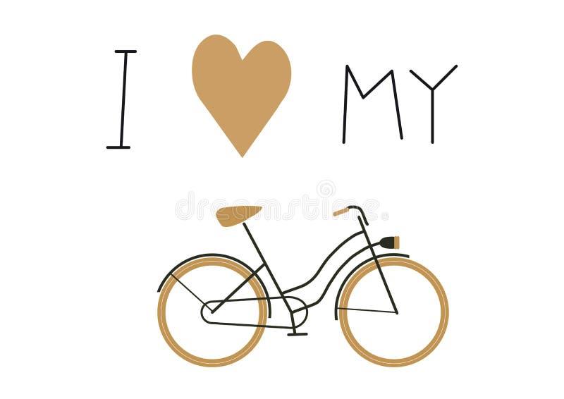Amo la mia icona di vettore del testo della bici e della bici royalty illustrazione gratis