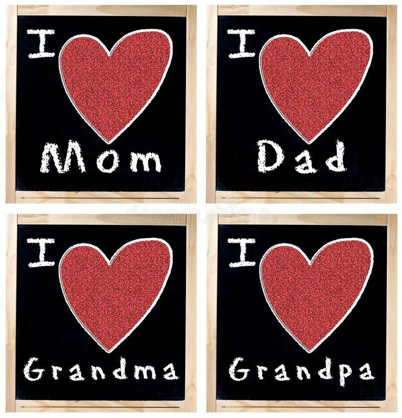 Amo la nonna ed il nonno del papà della mamma sulla lavagna immagini stock