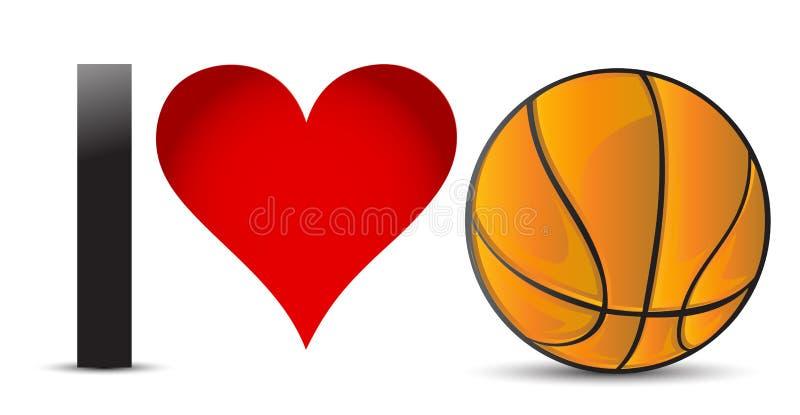 Amo la pallacanestro, cuore con la palla di pallacanestro illustrazione vettoriale