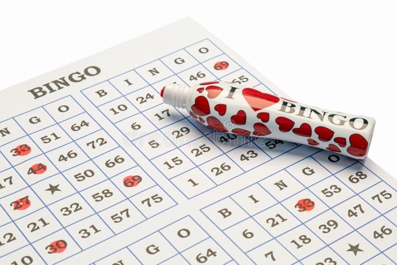 Amo la pluma y la tarjeta del bingo fotos de archivo