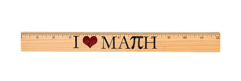 Amo la regla de la matemáticas imagen de archivo