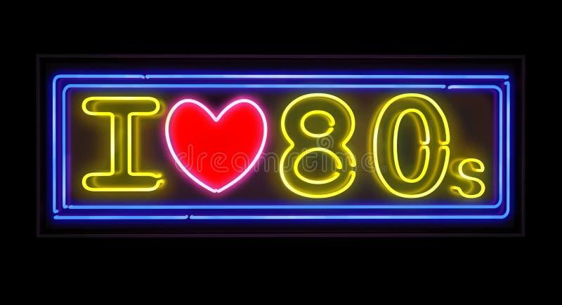 Amo la señal de neón de los años 80 ilustración del vector